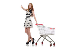 Mulher após a compra no supermercado fotografia de stock royalty free