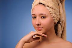 Mulher após o banho Fotos de Stock