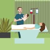 Mulher após o pai de doação labor do paizinho do nascimento que guarda o bebê ilustração do vetor