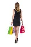 Mulher após shopping spree Fotografia de Stock