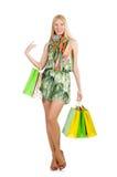 Mulher após shopping spree Fotos de Stock