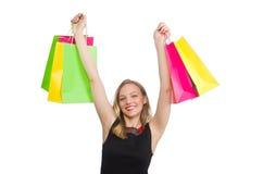 Mulher após shopping spree Fotografia de Stock Royalty Free