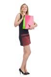 Mulher após shopping spree Imagens de Stock Royalty Free
