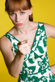 Mulher apontando irritada Imagens de Stock Royalty Free