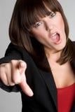 Mulher apontando irritada Foto de Stock Royalty Free