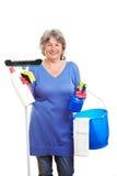 Mulher aposentada com limpeza Fotografia de Stock Royalty Free