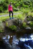 Mulher apta que caminha na região selvagem de montanhas Fotografia de Stock