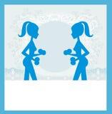 Mulher apta que exercita - silhueta, cartão abstrato Imagem de Stock Royalty Free