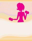 Mulher apta que exercita - silhueta, cartão abstrato Fotografia de Stock