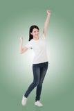 Mulher asiática alegre imagem de stock