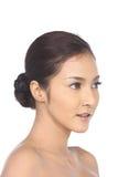A mulher asiática após compõe nenhum retocar, cara fresca com acne imagens de stock royalty free
