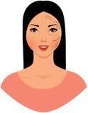 Mulher asiática bonita com as marcas tiradas em sua cara para o plástico c Imagem de Stock Royalty Free