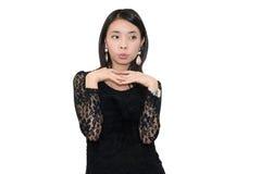 mulher asiática bonita Preto-vestida Fotos de Stock Royalty Free