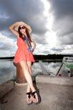 Mulher asiática bonita que relaxa Imagem de Stock Royalty Free