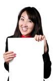 Mulher asiática com a bandeira em branco branca Foto de Stock Royalty Free