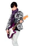 Mulher asiática com guitarra roxa Imagem de Stock
