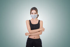 Mulher asiática com máscara foto de stock