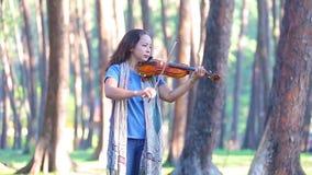 Mulher asiática com o violino na floresta do pinho na manhã da luz solar filme