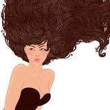 Mulher asiática consideravelmente nova com cabelo longo bonito Imagens de Stock Royalty Free