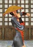 Mulher asiática da batalha Foto de Stock Royalty Free