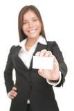 Mulher asiática do cartão isolada fotografia de stock
