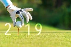 Mulher asiática do jogador de golfe que põe a bola de golfe pelo ano novo feliz 2019 sobre o golfe verde, espaço da cópia imagens de stock
