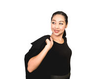 Mulher asiática do negócio feliz no terno preto foto de stock