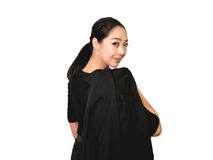 Mulher asiática do negócio feliz no terno preto imagem de stock royalty free