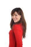 Mulher asiática misturada de sorriso no vermelho Imagem de Stock Royalty Free