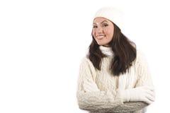 Mulher asiática na roupa do inverno fotos de stock