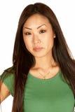 Mulher asiática nova bonita Headshot fotografia de stock