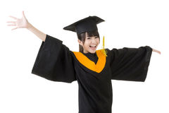 A mulher asiática nova da graduação está feliz Fotografia de Stock