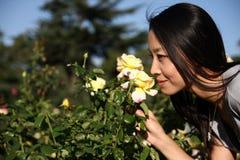 Mulher asiática nova que cheira uma flor Imagens de Stock Royalty Free