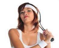 Mulher asiática nova que joga o badminton Imagem de Stock