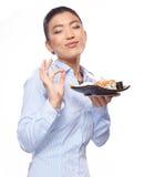 Mulher asiática que come o sushi Profundidade de campo rasa, focu fotos de stock royalty free