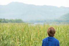Mulher asiática que olha o campo e a montanha imagens de stock royalty free