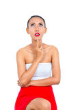 Mulher asiática que pensa sendo pensativo Foto de Stock Royalty Free