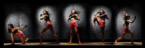 Mulher asiática que pratica o encaixotamento tailandês de Muay