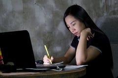 Mulher asiática que trabalha da casa tarde na noite imagens de stock