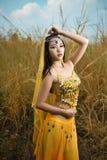 A mulher asiática vestida imita dançarinos persas Imagem de Stock