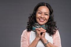 Mulher asiática superior feliz Fotos de Stock Royalty Free