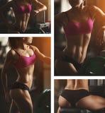 A mulher atlética brutal que bombeia acima muscles com fotos de stock