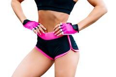 Mulher atlética no sportswear isolado no branco fotos de stock