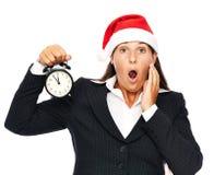 Mulher atrasada do Natal do negócio Fotos de Stock