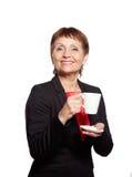 Mulher atrativa 50 anos isolados no fundo branco Foto de Stock Royalty Free