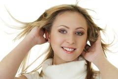 Mulher atrativa com cabelo fly-away imagem de stock