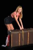 Mulher atrativa com mala de viagem Fotografia de Stock Royalty Free