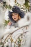 Mulher atrativa com o tampão preto da pele e o xaile cinzento que aprecia o inverno Opinião frontal a menina moreno elegante com  imagem de stock
