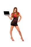 mulher atrativa com portátil imagem de stock