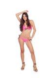 Mulher atrativa com roupa de banho cor-de-rosa Imagem de Stock Royalty Free